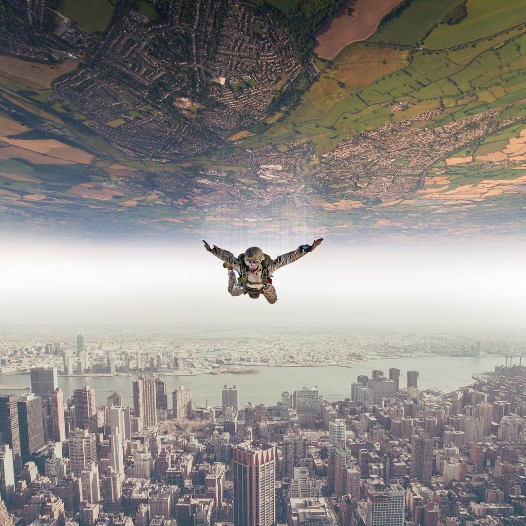 parachutist, fall, sky