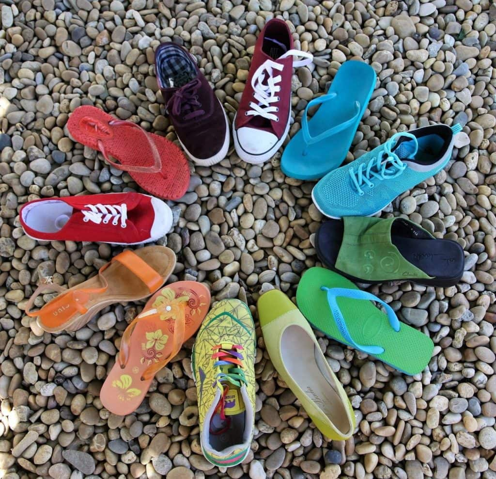 circle, rainbow, shoes